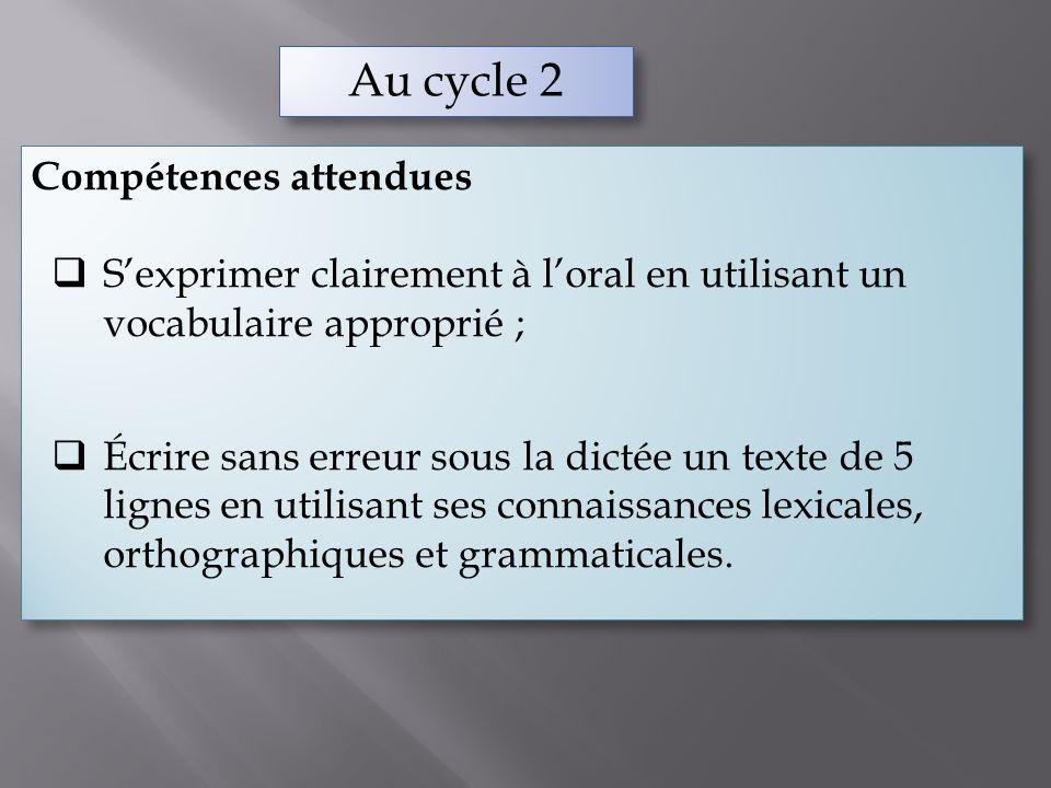 Au cycle 2 Compétences attendues Sexprimer clairement à loral en utilisant un vocabulaire approprié ; Écrire sans erreur sous la dictée un texte de 5