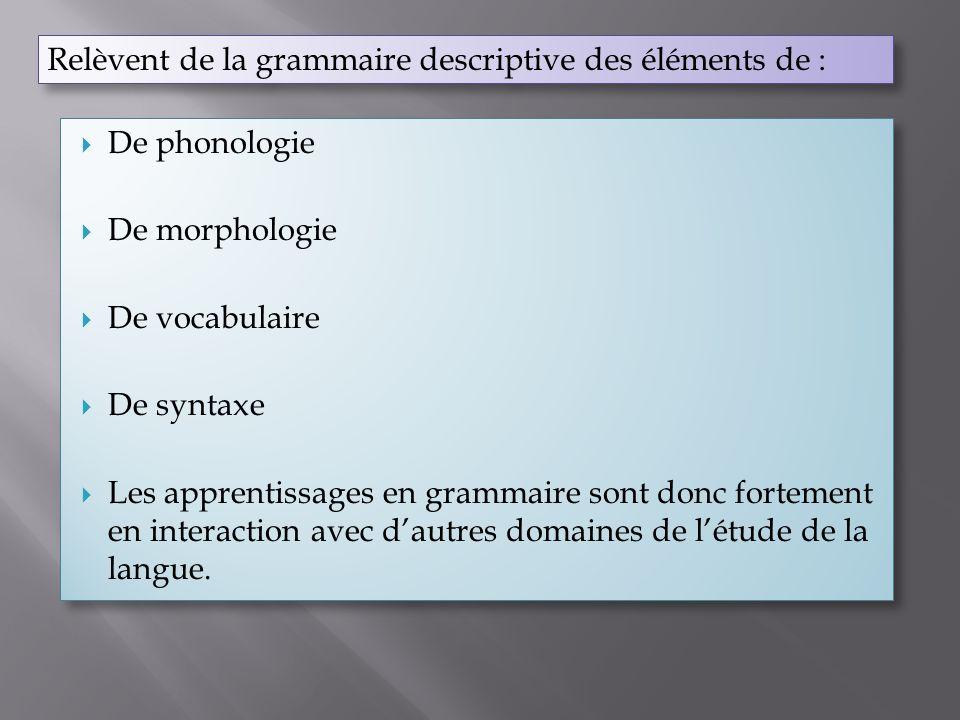 Relèvent de la grammaire descriptive des éléments de : De phonologie De morphologie De vocabulaire De syntaxe Les apprentissages en grammaire sont don