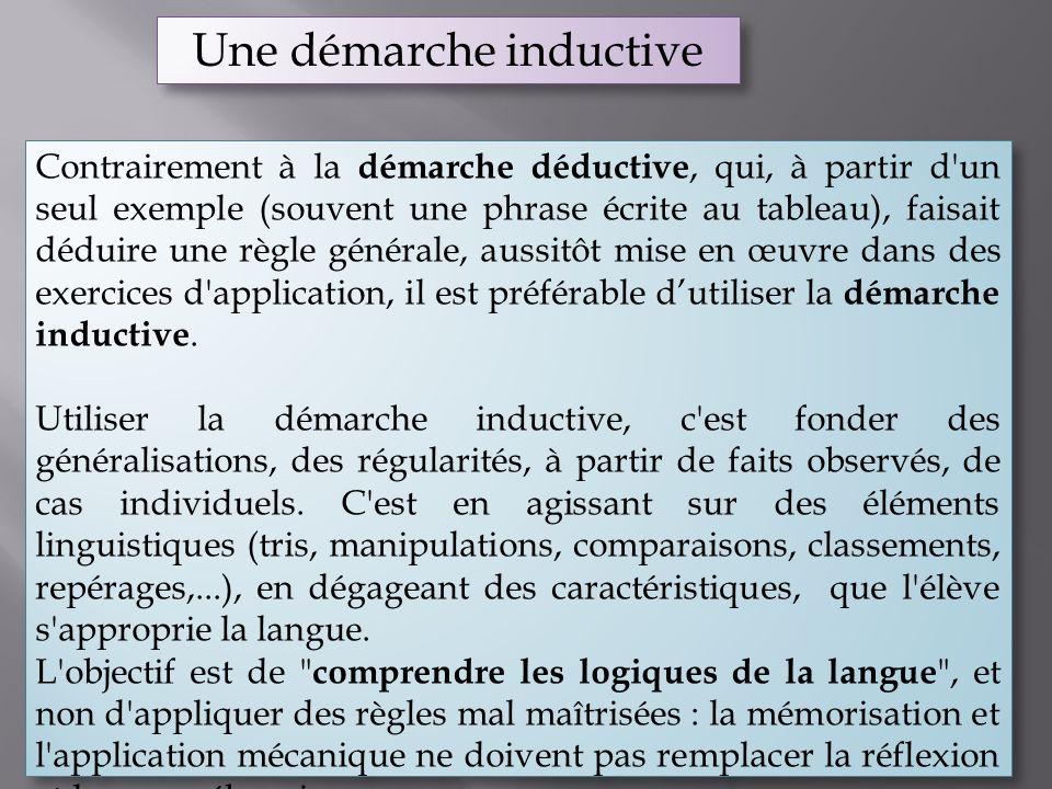 Une démarche inductive Contrairement à la démarche déductive, qui, à partir d'un seul exemple (souvent une phrase écrite au tableau), faisait déduire