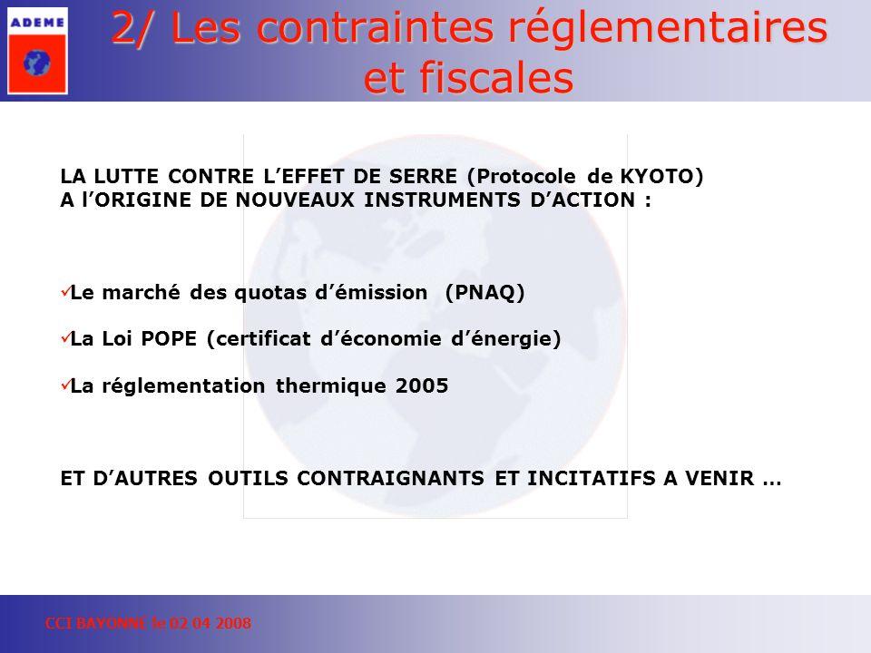 CCI BAYONNE le 02 04 2008 2/ Les contraintes réglementaires et fiscales LA LUTTE CONTRE LEFFET DE SERRE (Protocole de KYOTO) A lORIGINE DE NOUVEAUX INSTRUMENTS DACTION : Le marché des quotas démission (PNAQ) La Loi POPE (certificat déconomie dénergie) La réglementation thermique 2005 ET DAUTRES OUTILS CONTRAIGNANTS ET INCITATIFS A VENIR …