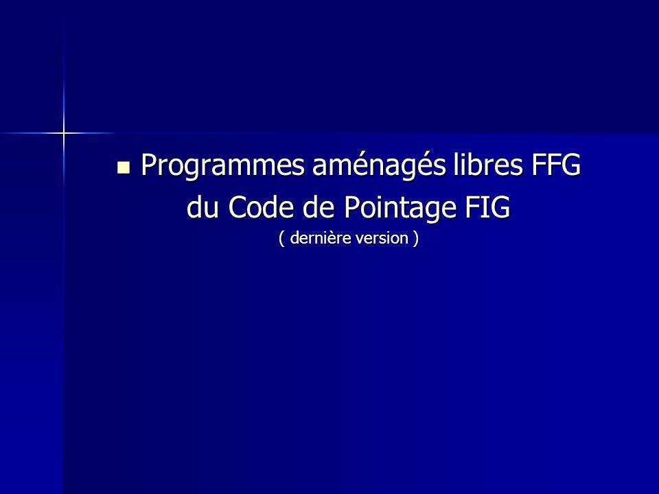 Programmes aménagés libres FFG Programmes aménagés libres FFG du Code de Pointage FIG ( dernière version )