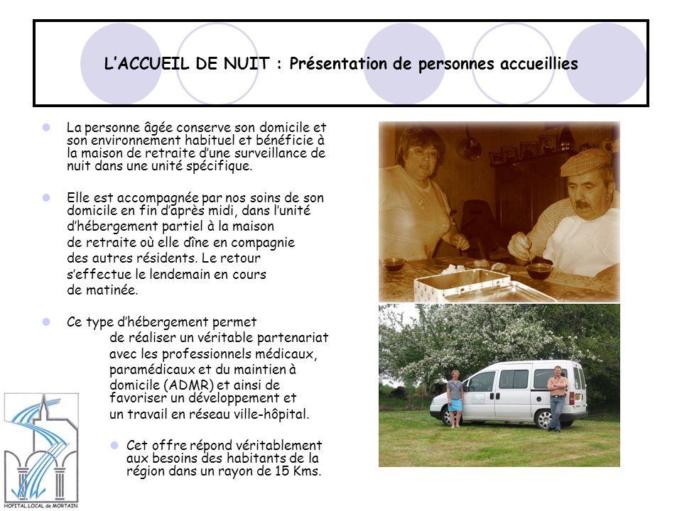LACCUEIL DE NUIT : Présentation de personnes accueillies La personne âgée conserve son domicile et son environnement habituel et bénéficie à la maison de retraite dune surveillance de nuit dans une unité spécifique.
