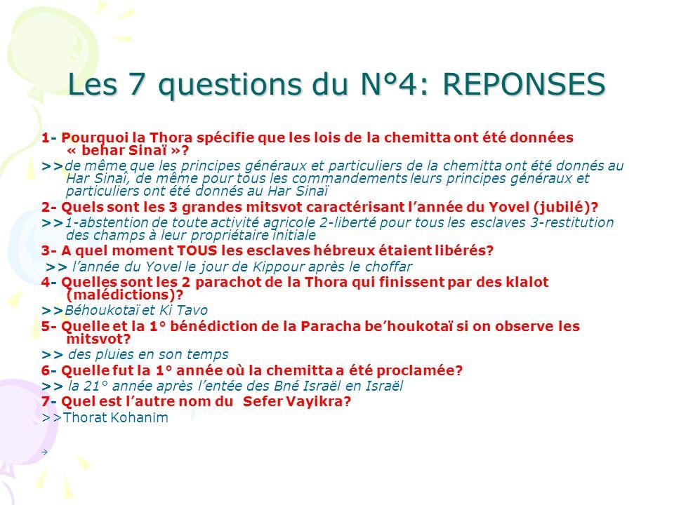 Les 7 questions du N°4: REPONSES 1- Pourquoi la Thora spécifie que les lois de la chemitta ont été données « behar Sinaï »? >>de même que les principe