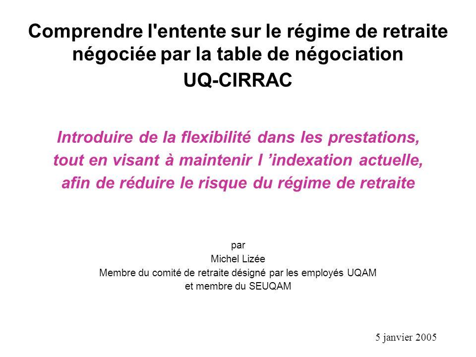 1 Comprendre l'entente sur le régime de retraite négociée par la table de négociation UQ-CIRRAC Introduire de la flexibilité dans les prestations, tou