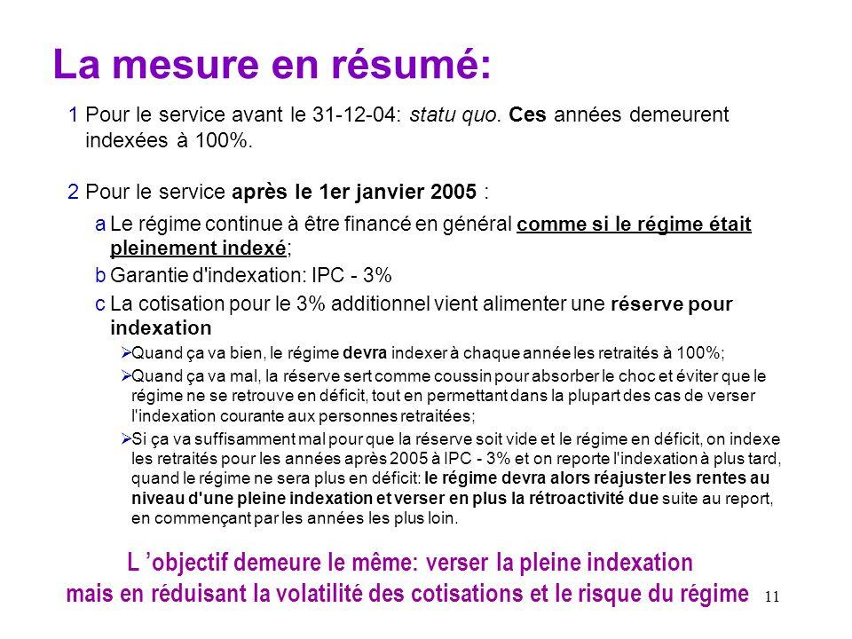 11 La mesure en résumé: 1Pour le service avant le 31-12-04: statu quo. Ces années demeurent indexées à 100%. 2Pour le service après le 1er janvier 200