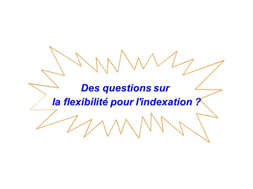 Des questions sur la flexibilité pour l'indexation ?