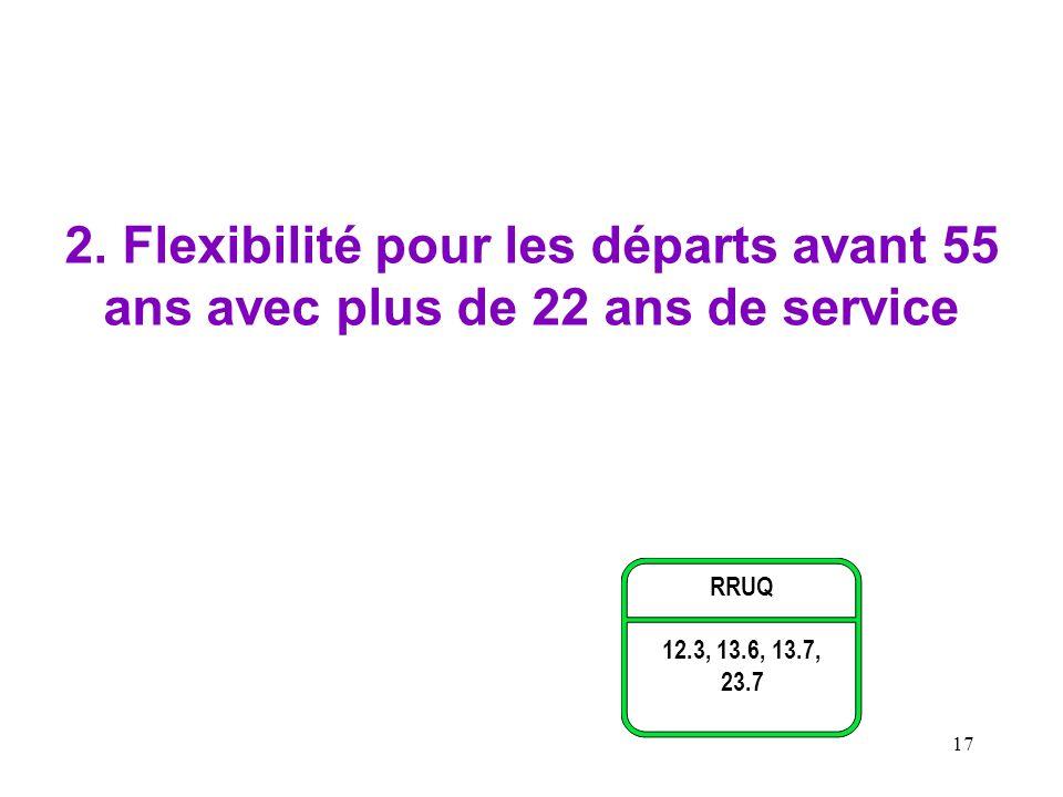 17 2. Flexibilité pour les départs avant 55 ans avec plus de 22 ans de service RRUQ 12.3, 13.6, 13.7, 23.7