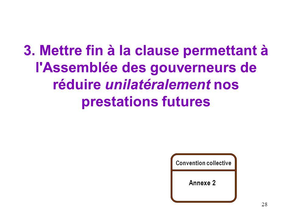 28 3. Mettre fin à la clause permettant à l'Assemblée des gouverneurs de réduire unilatéralement nos prestations futures Convention collective Annexe