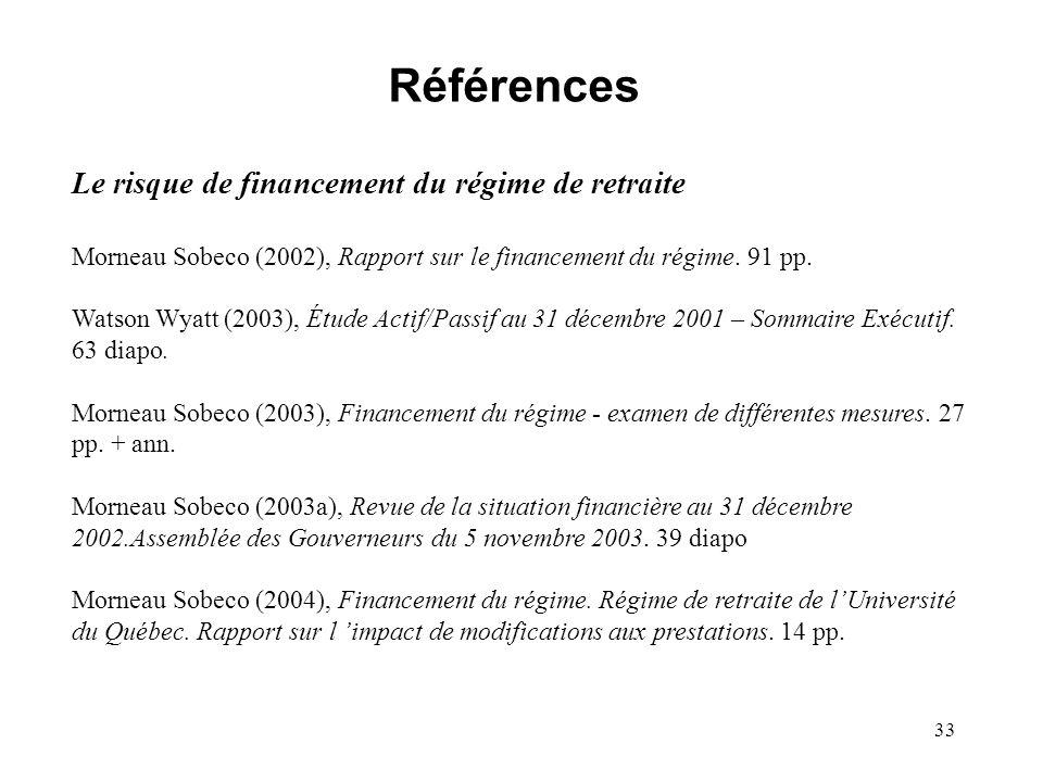 33 Références Le risque de financement du régime de retraite Morneau Sobeco (2002), Rapport sur le financement du régime. 91 pp. Watson Wyatt (2003),