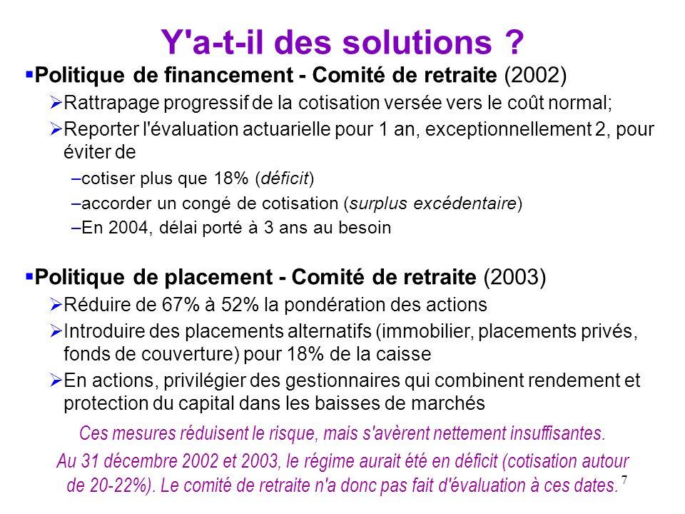 7 Y'a-t-il des solutions ? Politique de financement - Comité de retraite (2002) Rattrapage progressif de la cotisation versée vers le coût normal; Rep