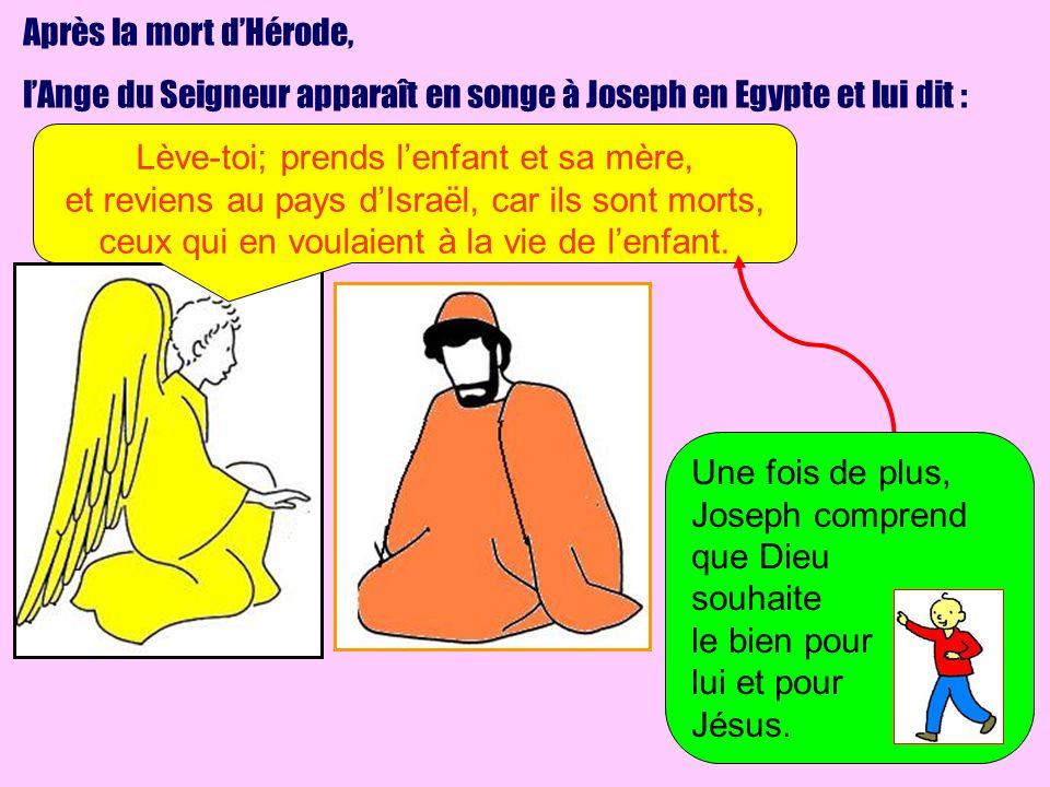 Après la mort dHérode, lAnge du Seigneur apparaît en songe à Joseph en Egypte et lui dit : Lève-toi; prends lenfant et sa mère, et reviens au pays dIs