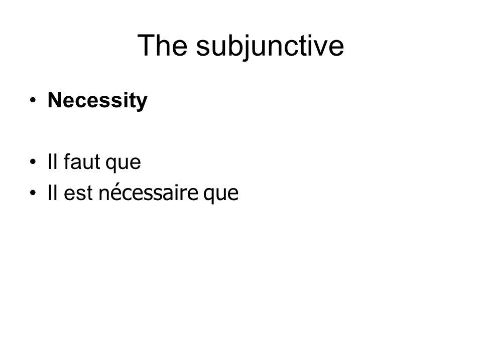 The subjunctive Necessity Il faut que Il est n écessaire que