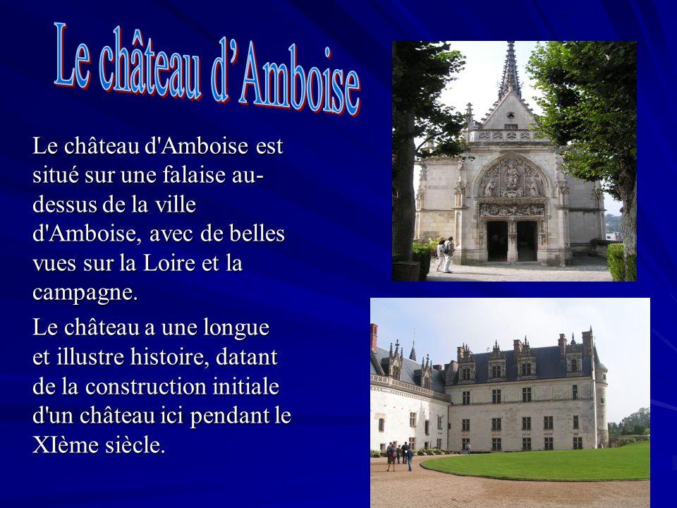 Le château d'Amboise est situé sur une falaise au- dessus de la ville d'Amboise, avec de belles vues sur la Loire et la campagne. Le château a une lon