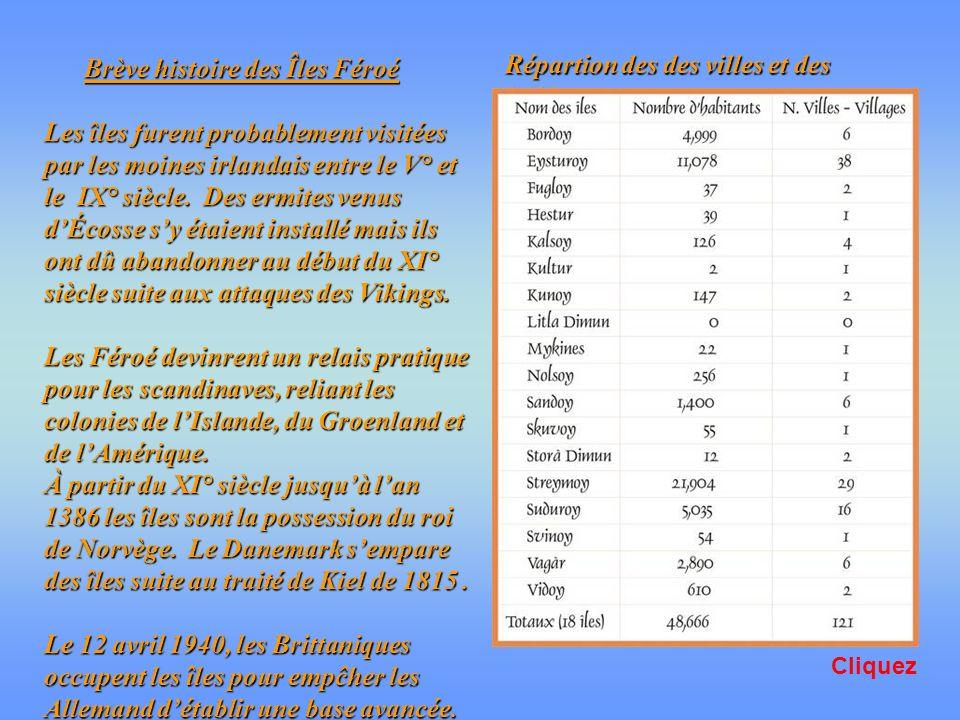 À 62° N et 7°O, les îles Féroé se sSituent à 450 km. de lIslande et à 350 km. de lÉcosse cest un groupe de 18 îles dont une seule est inhabitée. La pl
