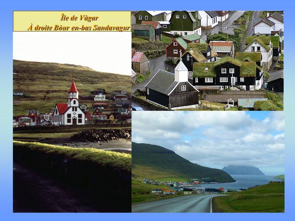 Île de Vàgar À droite Bòur en-bas Sandavagur Île de Vàgar À droite Bòur en-bas Sandavagur