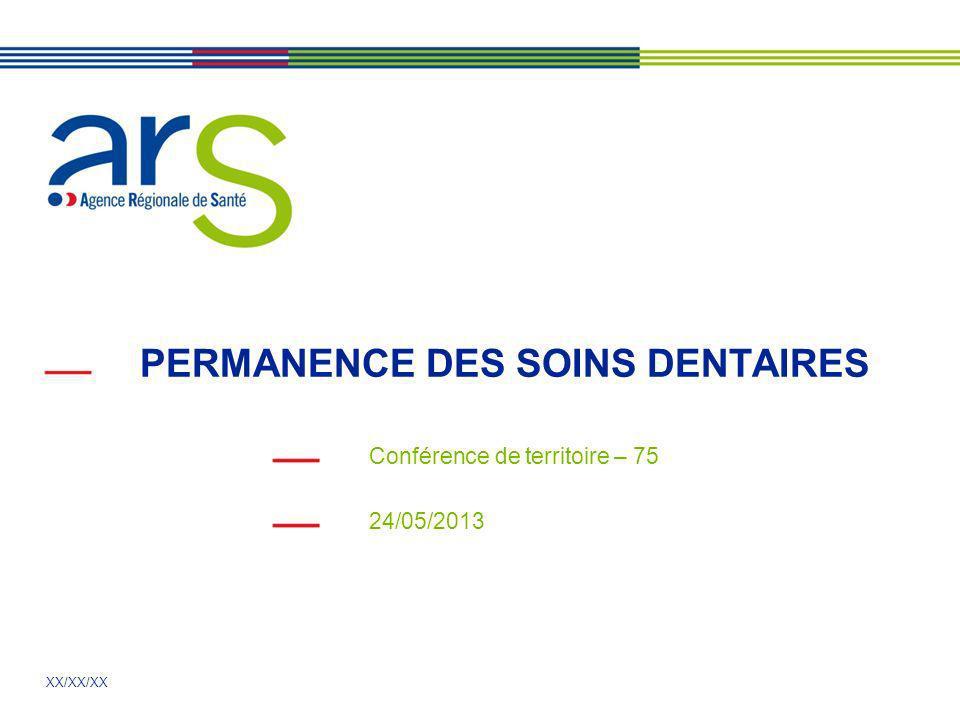 XX/XX/XX PERMANENCE DES SOINS DENTAIRES Conférence de territoire – 75 24/05/2013
