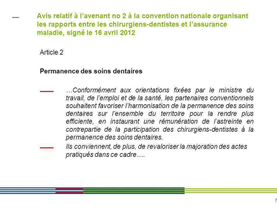 8 Avis relatif à lavenant no 2 à la convention nationale organisant les rapports entre les chirurgiens-dentistes et lassurance maladie, signé le 16 avril 2012 2.1.