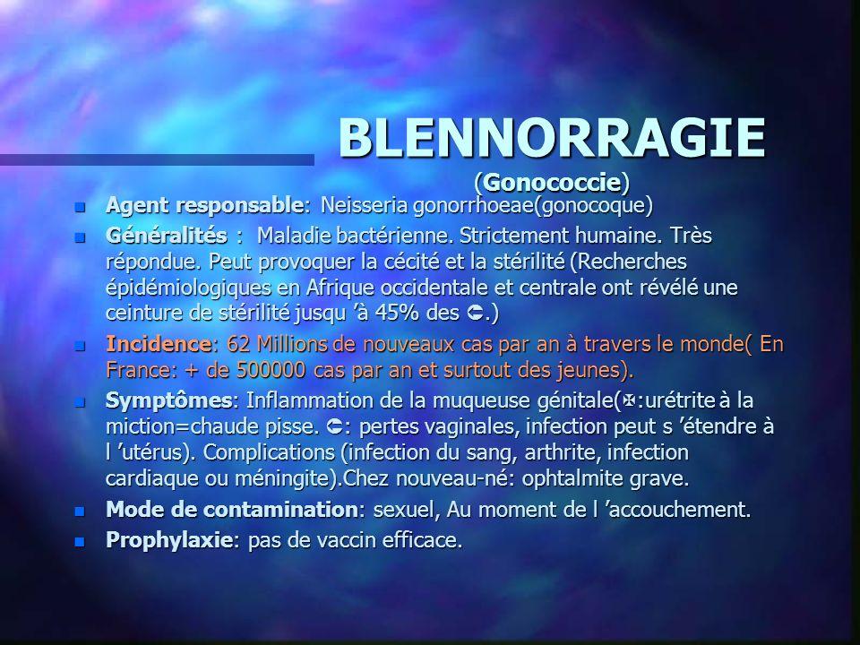 BLENNORRAGIE (Gonococcie) n Agent responsable: Neisseria gonorrhoeae(gonocoque) n Généralités : Maladie bactérienne. Strictement humaine. Très répondu