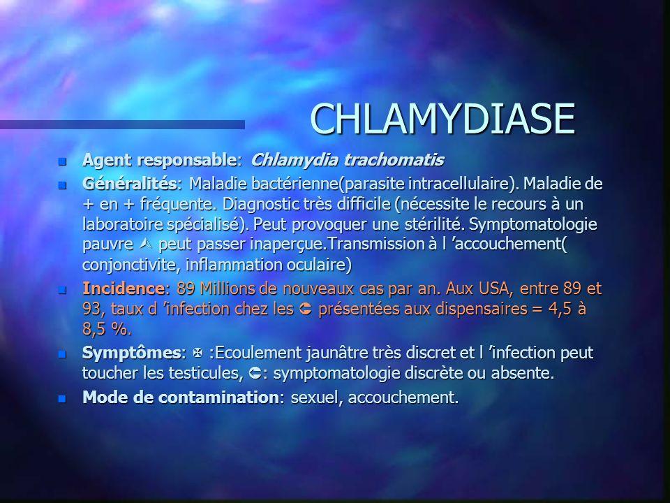 CHLAMYDIASE CHLAMYDIASE n Agent responsable: Chlamydia trachomatis n Généralités: Maladie bactérienne(parasite intracellulaire). Maladie de + en + fré