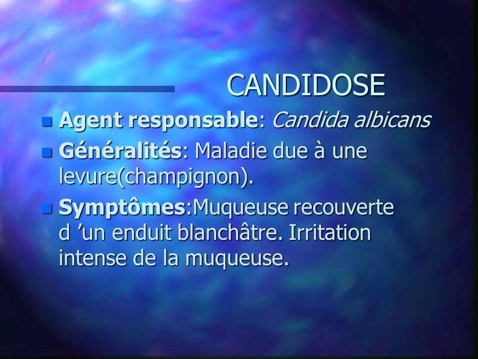 CANDIDOSE n Agent responsable: Candida albicans n Généralités: Maladie due à une levure(champignon). n Symptômes:Muqueuse recouverte d un enduit blanc