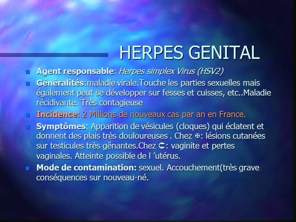 HERPES GENITAL n Agent responsable: Herpes simplex Virus (HSV2) n Généralités:maladie virale.Touche les parties sexuelles mais également peut se dével