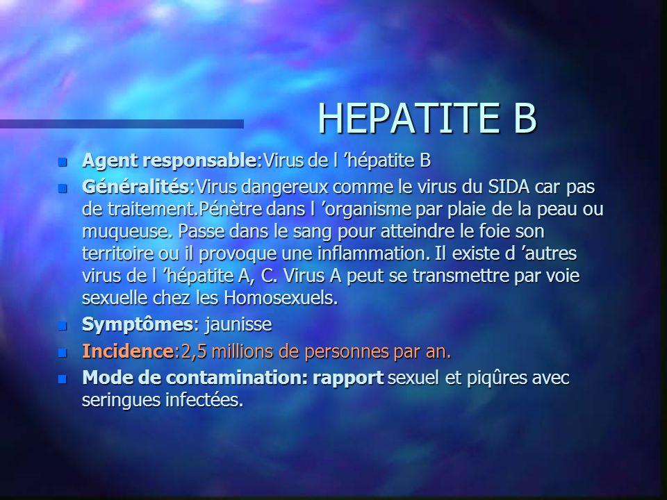 HEPATITE B n Agent responsable:Virus de l hépatite B n Généralités:Virus dangereux comme le virus du SIDA car pas de traitement.Pénètre dans l organis