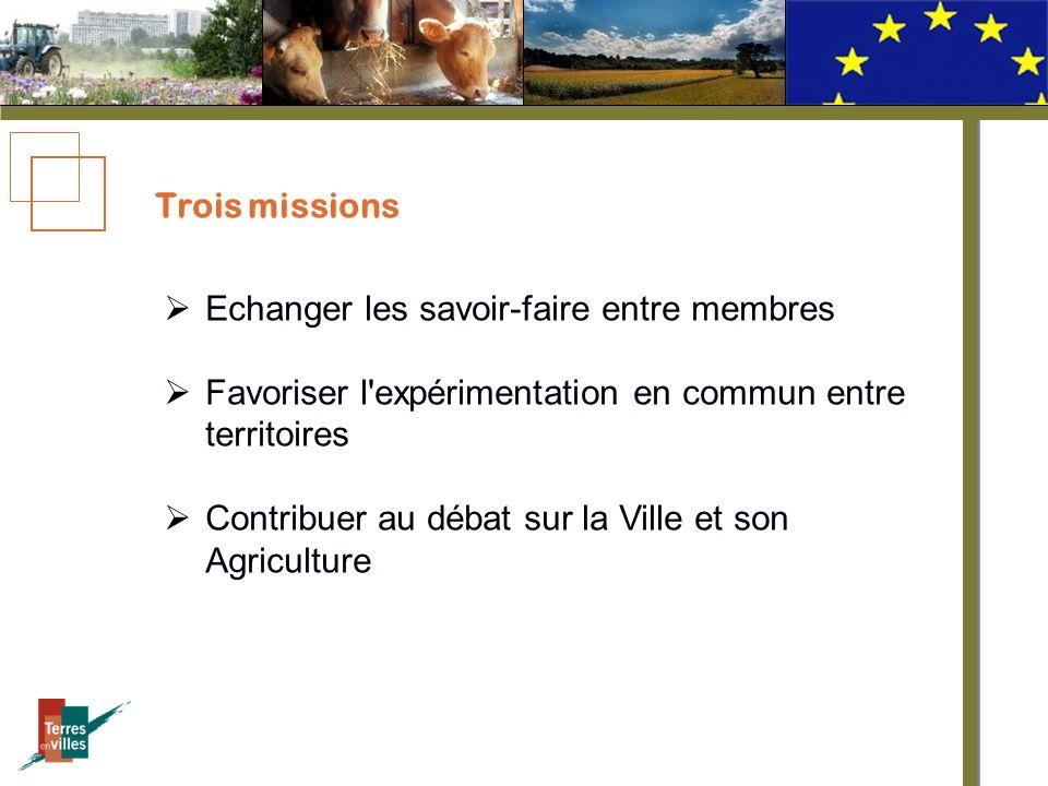 Trois missions Echanger les savoir-faire entre membres Favoriser l expérimentation en commun entre territoires Contribuer au débat sur la Ville et son Agriculture