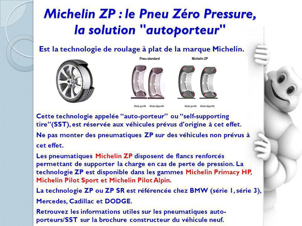 Les pneumatiques Michelin ZP et Michelin ZP SR sont identifiables grâce aux logos ZP apposé sur leurs flancs.