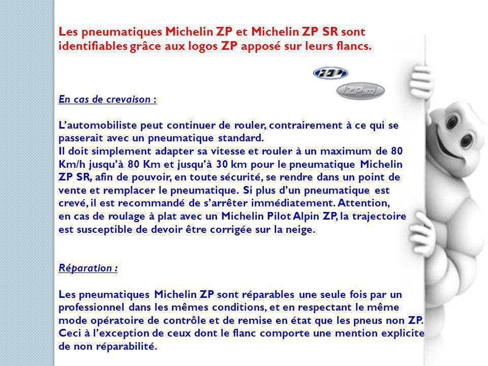Les pneumatiques Michelin ZP et Michelin ZP SR sont identifiables grâce aux logos ZP apposé sur leurs flancs. En cas de crevaison : Lautomobiliste peu