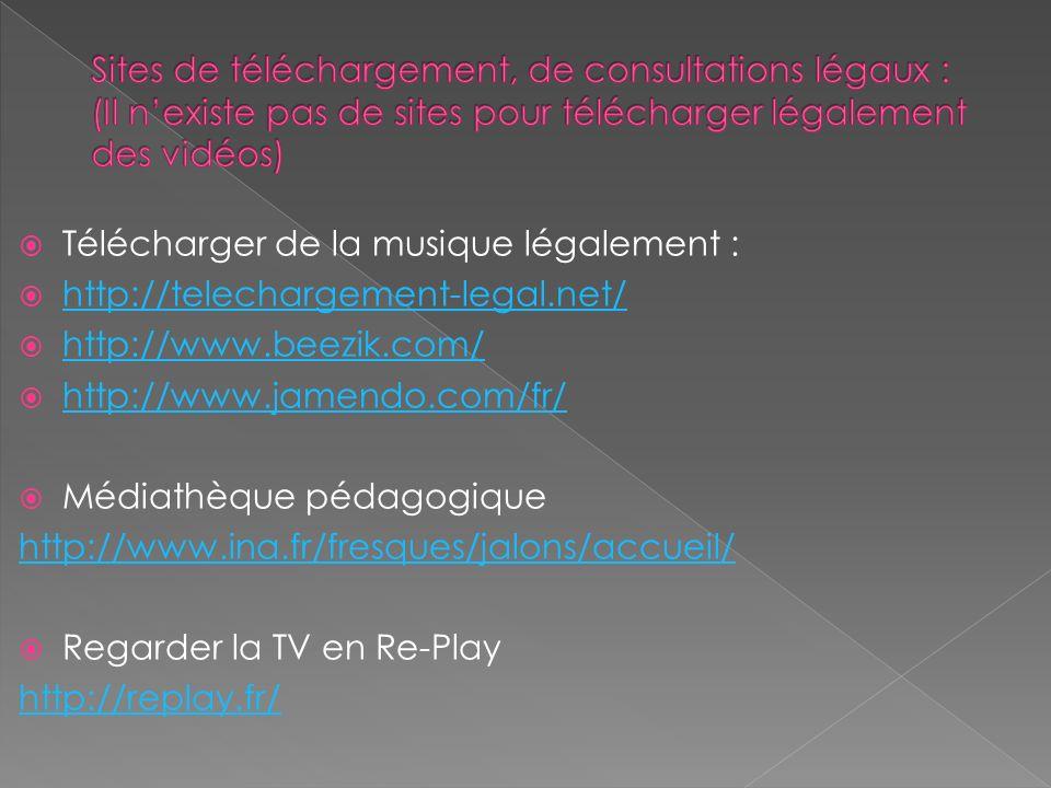 Télécharger de la musique légalement : http://telechargement-legal.net/ http://www.beezik.com/ http://www.jamendo.com/fr/ Médiathèque pédagogique http://www.ina.fr/fresques/jalons/accueil/ Regarder la TV en Re-Play http://replay.fr/