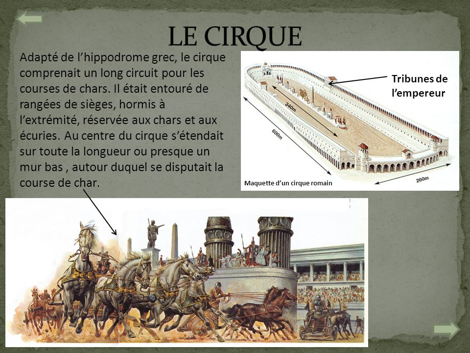 Adapté de lhippodrome grec, le cirque comprenait un long circuit pour les courses de chars. Il était entouré de rangées de sièges, hormis à lextrémité