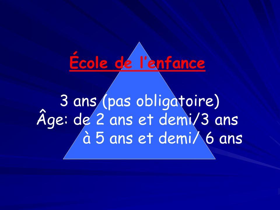 École de lenfance 3 ans (pas obligatoire) Âge: de 2 ans et demi/3 ans à 5 ans et demi/ 6 ans
