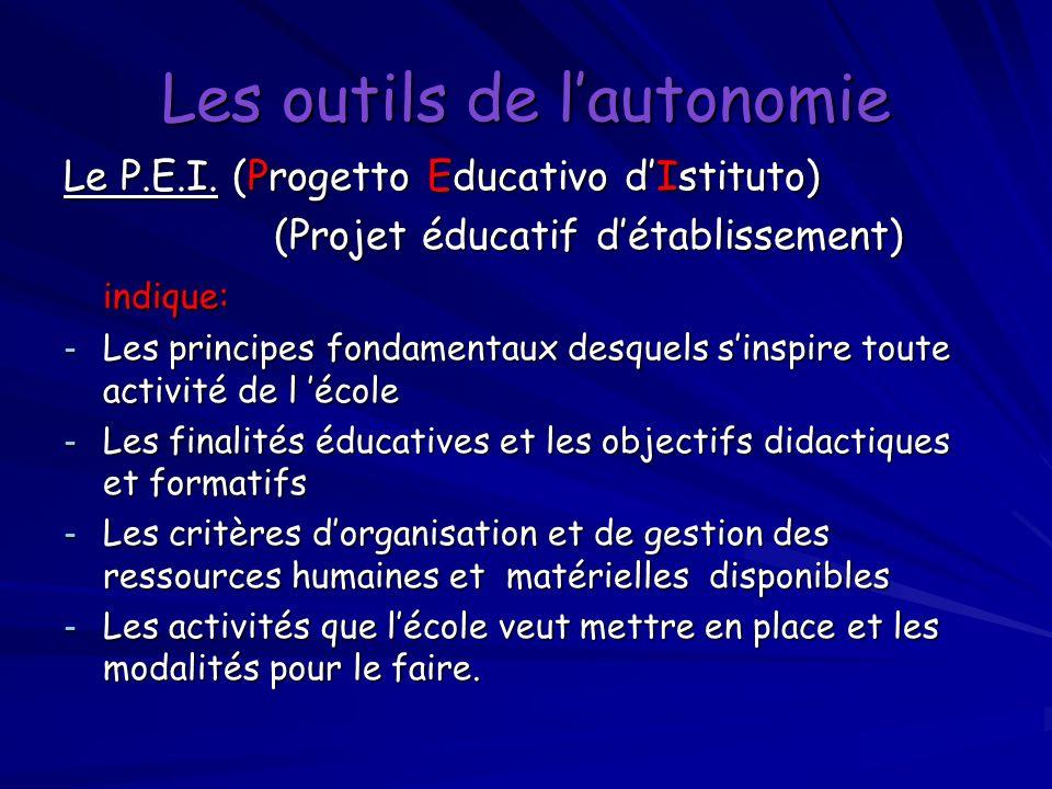 Les outils de lautonomie Le P.E.I. (Progetto Educativo dIstituto) (Projet éducatif détablissement) indique: - Les principes fondamentaux desquels sins