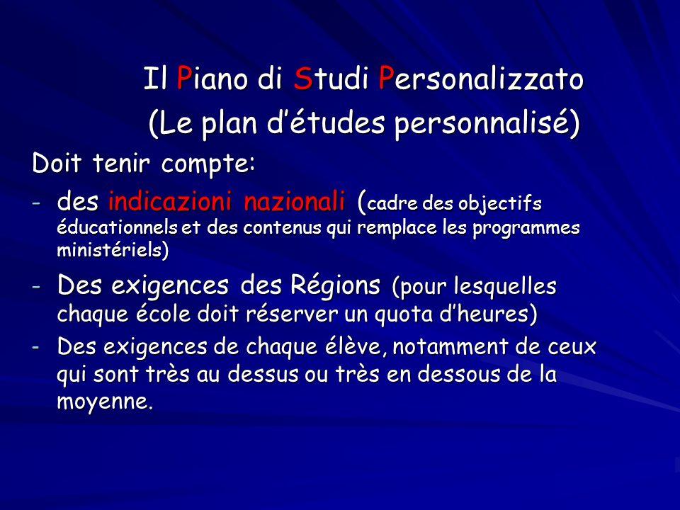 Il Piano di Studi Personalizzato (Le plan détudes personnalisé) Doit tenir compte: - des indicazioni nazionali ( cadre des objectifs éducationnels et