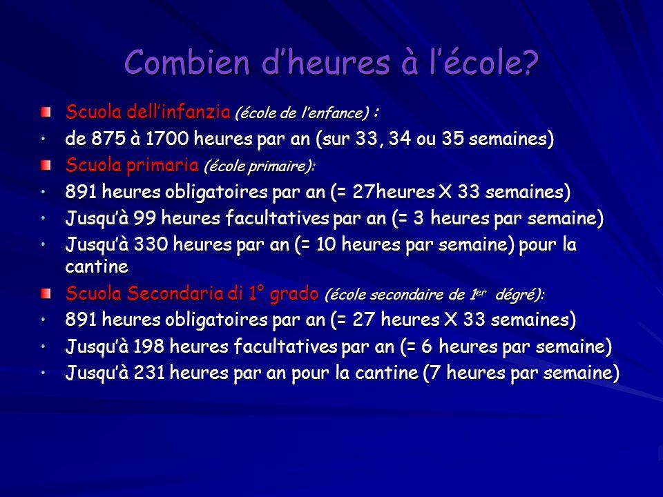 Combien dheures à lécole? Scuola dellinfanzia (école de lenfance) : de 875 à 1700 heures par an (sur 33, 34 ou 35 semaines) de 875 à 1700 heures par a