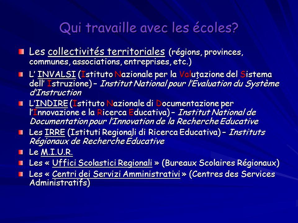 Qui travaille avec les écoles? Les collectivités territoriales (régions, provinces, communes, associations, entreprises, etc.) L INVALSI (Istituto Naz