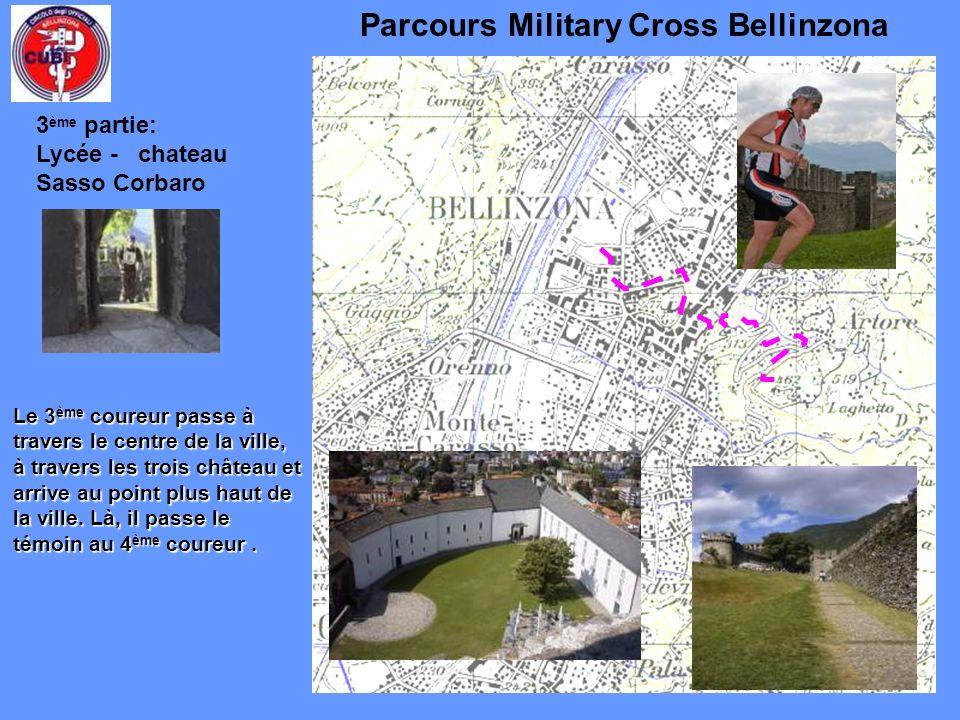 Parcours Military Cross Bellinzona Le 3 ème coureur passe à travers le centre de la ville, à travers les trois château et arrive au point plus haut de la ville.
