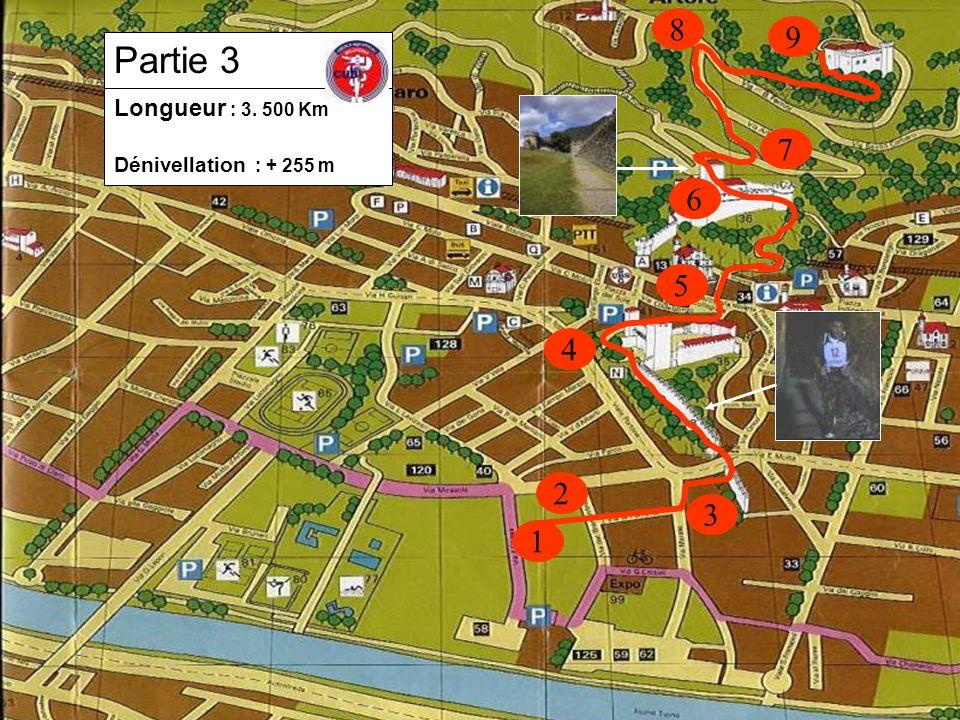 1 2 3 4 5 8 6 Longueur : 3. 500 Km Dénivellation : + 255 m Partie 3 7 9