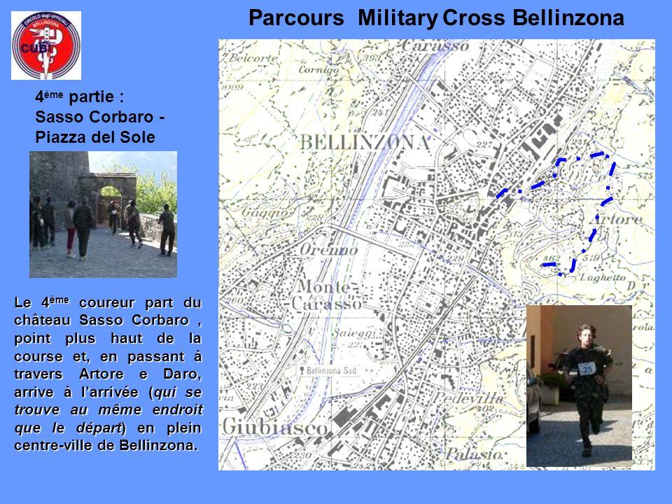 Parcours Military Cross Bellinzona Le 4 ème coureur part du château Sasso Corbaro, point plus haut de la course et, en passant à travers Artore e Daro, arrive à larrivée (qui se trouve au même endroit que le départ) en plein centre-ville de Bellinzona.