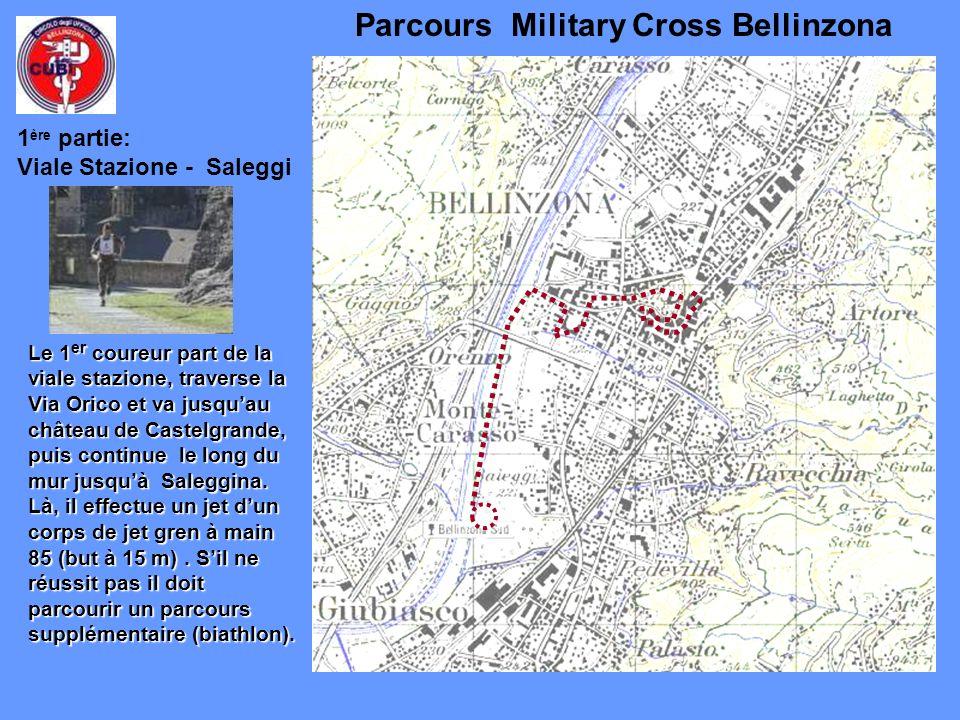 Parcours Military Cross Bellinzona Le 1 er coureur part de la viale stazione, traverse la Via Orico et va jusquau château de Castelgrande, puis continue le long du mur jusquà Saleggina.