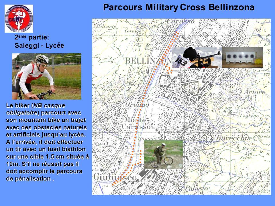 Parcours Military Cross Bellinzona Le biker (NB casque obligatoire) parcourt avec son mountain bike un trajet avec des obstacles naturels et artificiels jusquau lycée.