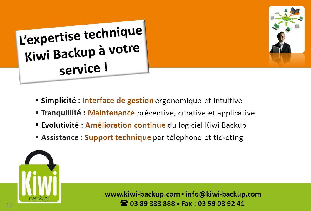 11 www.kiwi-backup.com info@kiwi-backup.com 03 89 333 888 Fax : 03 59 03 92 41 Simplicité : Interface de gestion ergonomique et intuitive Tranquillité
