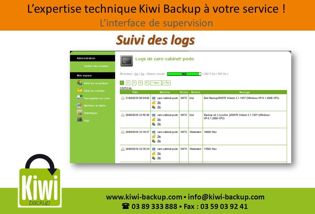 19 www.kiwi-backup.com info@kiwi-backup.com 03 89 333 888 Fax : 03 59 03 92 41 Suivi des logs Lexpertise technique Kiwi Backup à votre service ! Linte