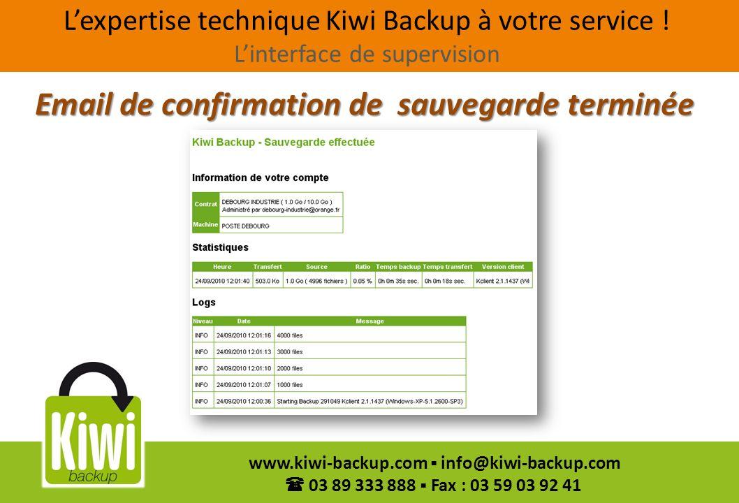 23 www.kiwi-backup.com info@kiwi-backup.com 03 89 333 888 Fax : 03 59 03 92 41 Email de confirmation de sauvegarde terminée Lexpertise technique Kiwi