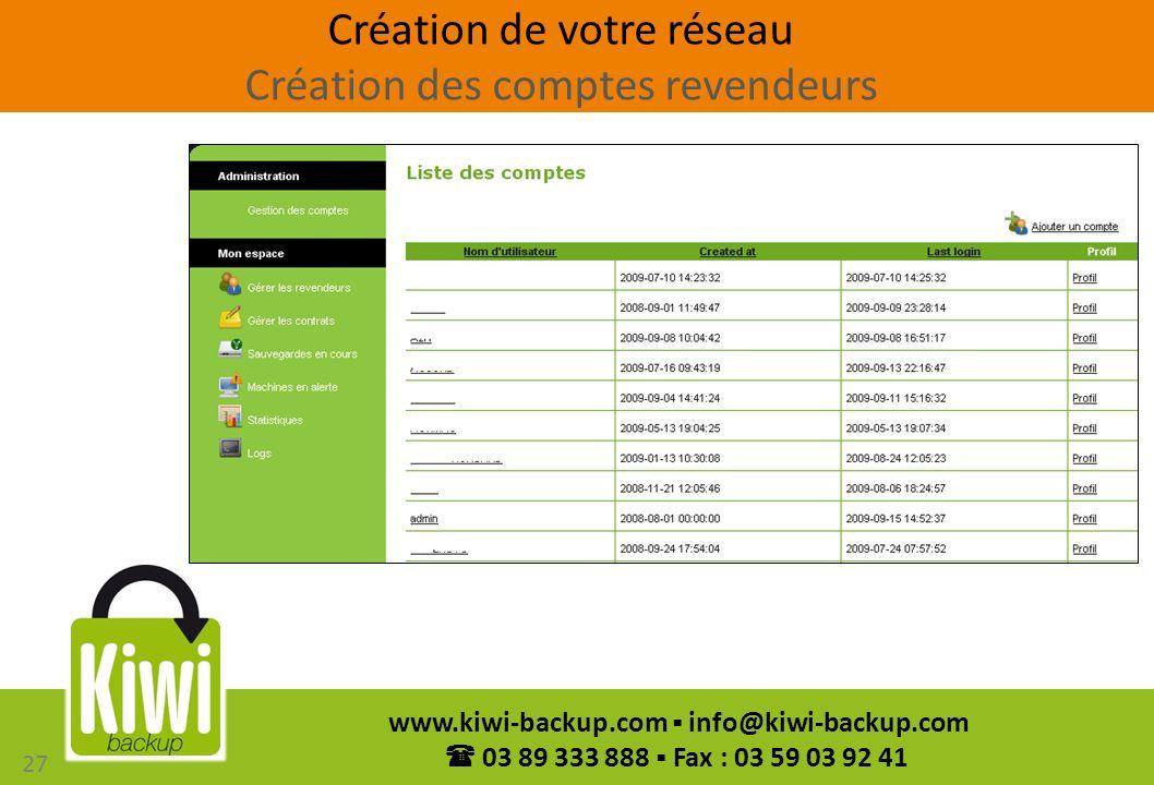 27 www.kiwi-backup.com info@kiwi-backup.com 03 89 333 888 Fax : 03 59 03 92 41 27 Création de votre réseau Création des comptes revendeurs