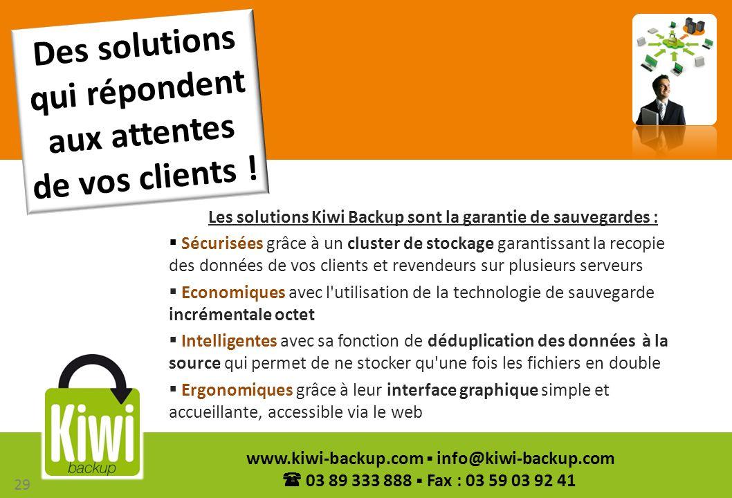 29 www.kiwi-backup.com info@kiwi-backup.com 03 89 333 888 Fax : 03 59 03 92 41 Les solutions Kiwi Backup sont la garantie de sauvegardes : Sécurisées