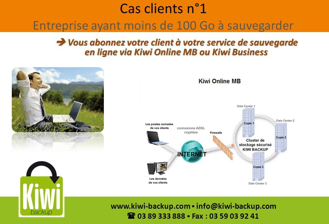 42 www.kiwi-backup.com info@kiwi-backup.com 03 89 333 888 Fax : 03 59 03 92 41 Cas clients n°1 Entreprise ayant moins de 100 Go à sauvegarder Vous abo