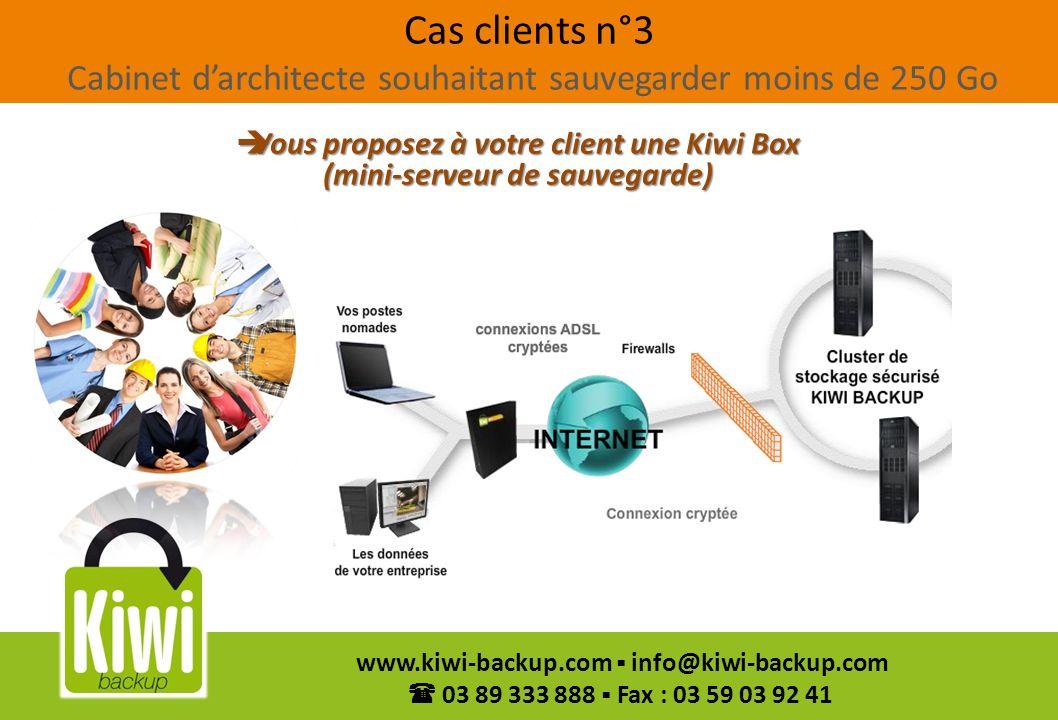 44 www.kiwi-backup.com info@kiwi-backup.com 03 89 333 888 Fax : 03 59 03 92 41 Cas clients n°3 Cabinet darchitecte souhaitant sauvegarder moins de 250