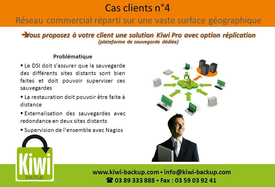 45 www.kiwi-backup.com info@kiwi-backup.com 03 89 333 888 Fax : 03 59 03 92 41 Cas clients n°4 Réseau commercial réparti sur une vaste surface géograp
