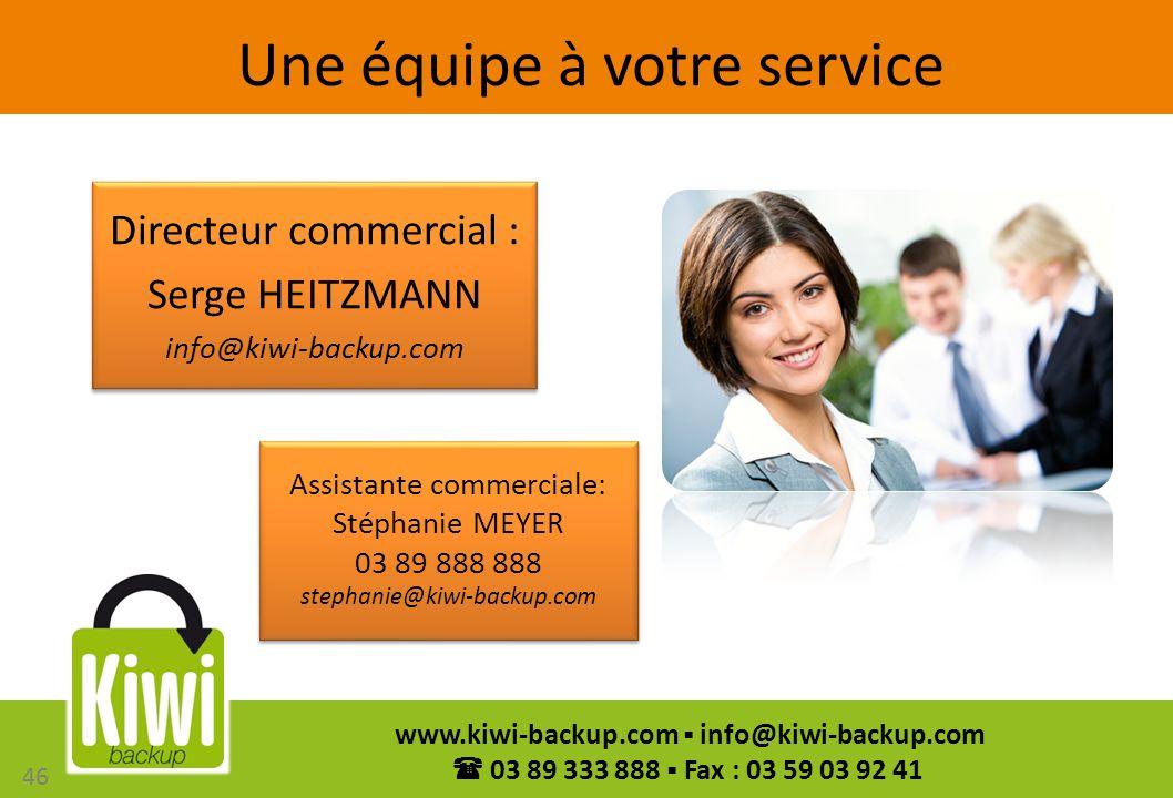 46 www.kiwi-backup.com info@kiwi-backup.com 03 89 333 888 Fax : 03 59 03 92 41 Une équipe à votre service Directeur commercial : Serge HEITZMANN info@